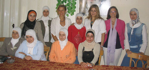 With Highschool girls in Bosra, Syria